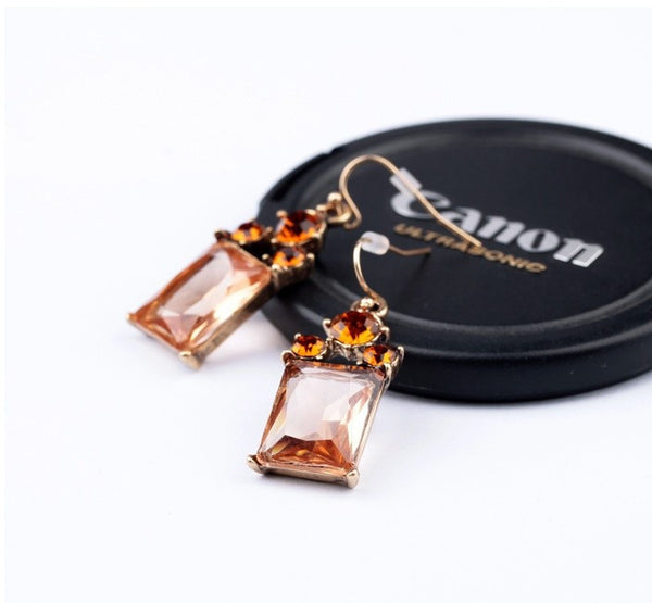 Amber Drop Earring close