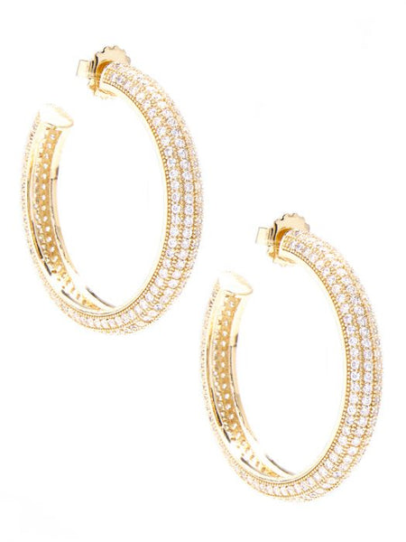 Pave Chunky Hoop Earrings