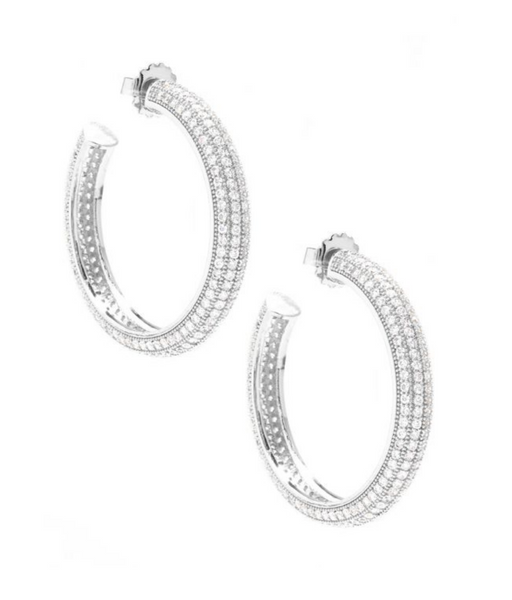 Pave Chunky Hoop Earrings silver