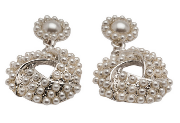 Pearl Covered Silver Earrings