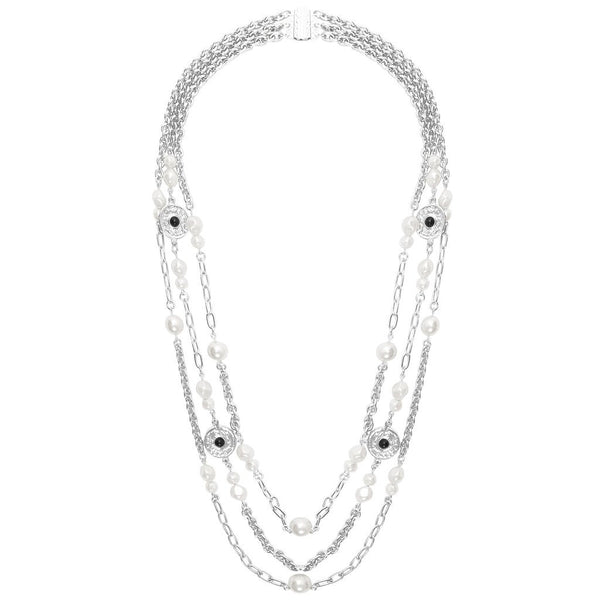 Karine Sultan Pearls and Coins Triple Strand Long Necklace silver