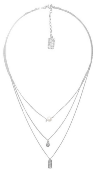 Delicate Pendant Layered Long Necklace in Silver