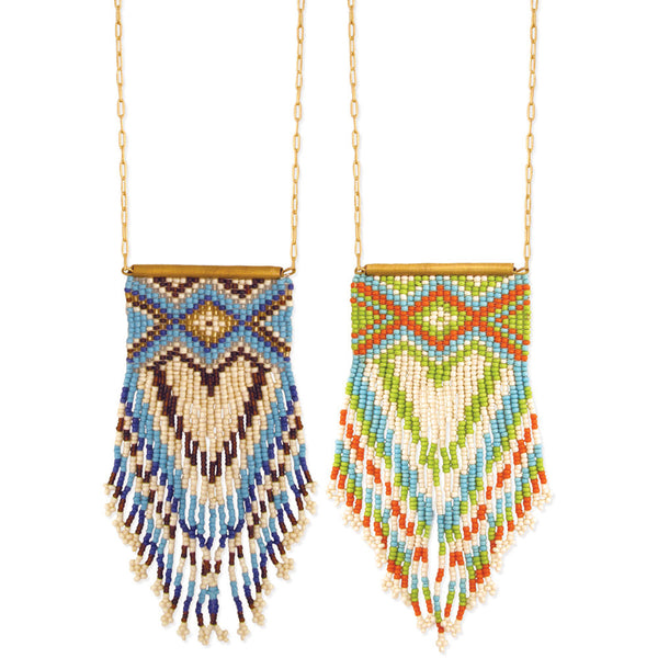 Peyote Stitch Fringe Beaded Long Necklace