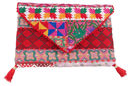 Phulkari Bohemian Clutch red