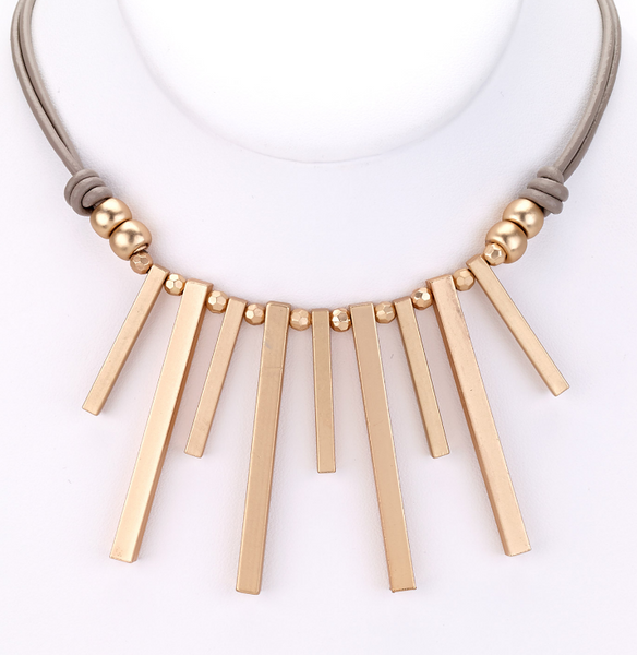 Piano Keys Leather Necklace gold