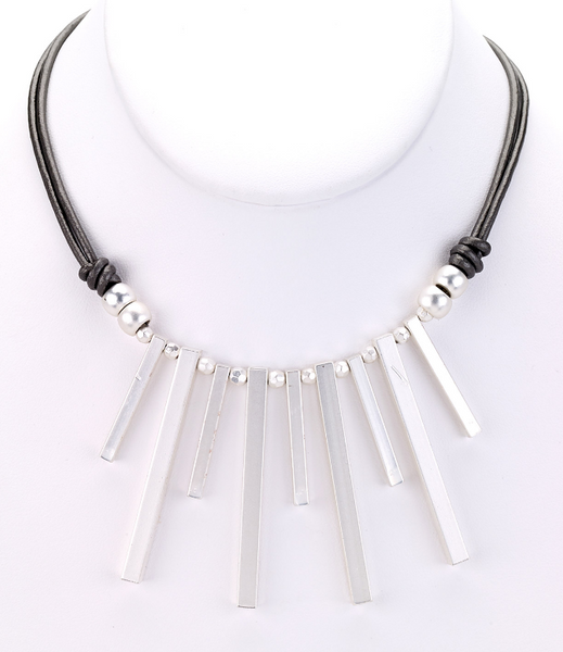 Piano Keys Leather Necklace silver