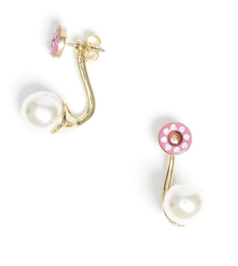 Pink and Pearl Earring Studs