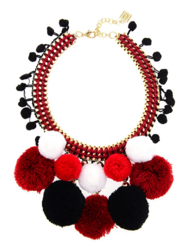 Pom Pom Bib Necklace red