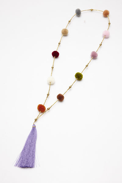 Pom Pom Long Necklace with Tassel