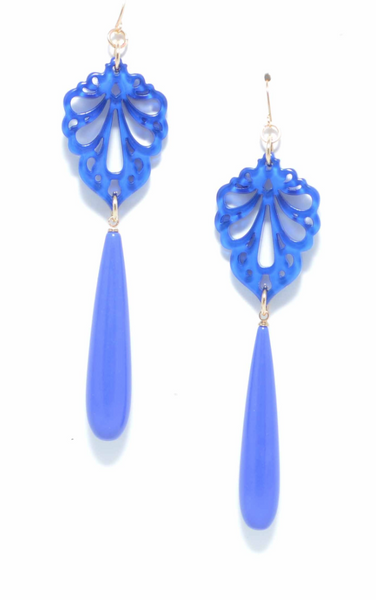 Pushing Petals Earrings blue