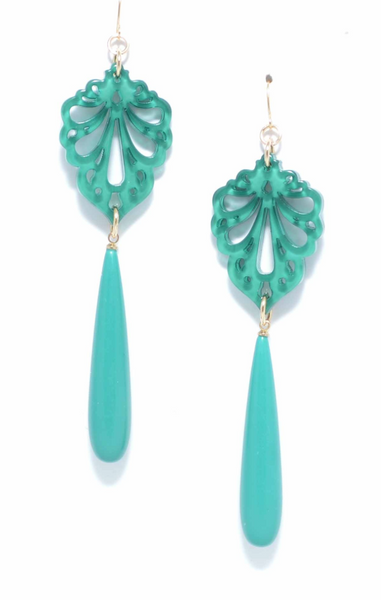 Pushing Petals Earrings green