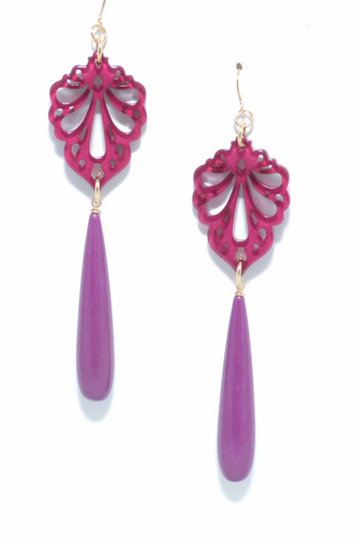 Pushing Petals Earrings plum