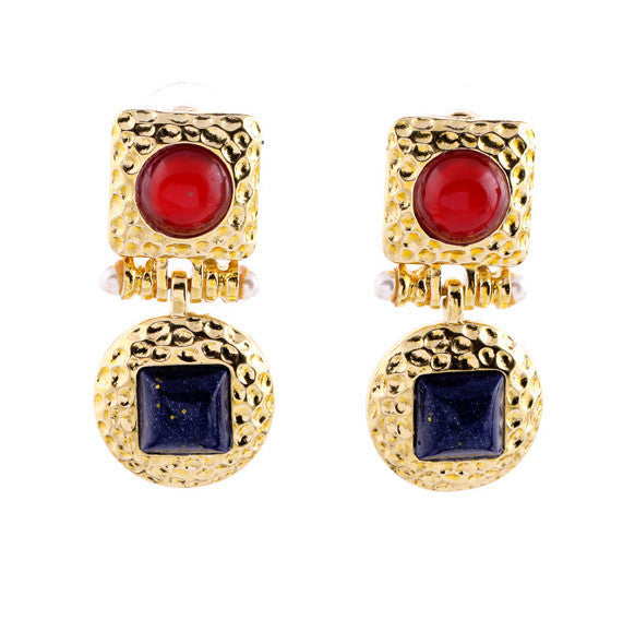 Red and Blue Drop Earrings