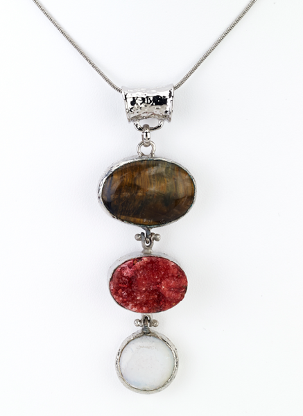 Red Druzy Stone Pendant Necklace