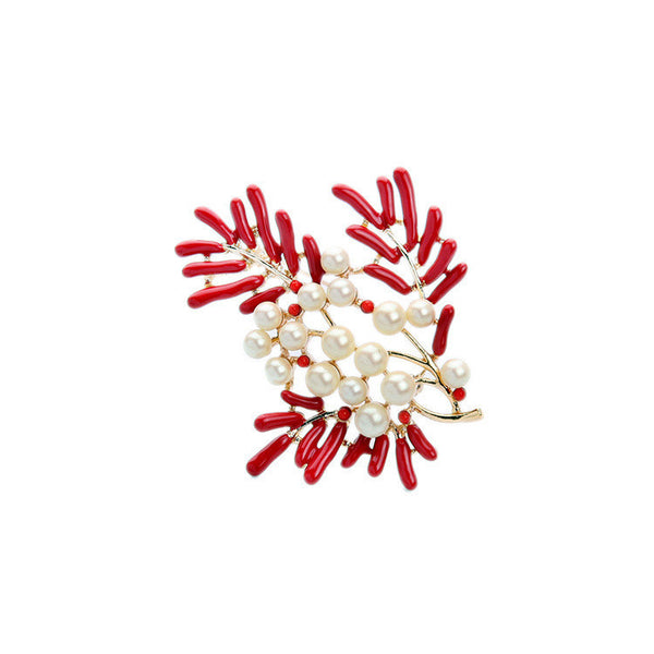 Red and Pearls Brooch