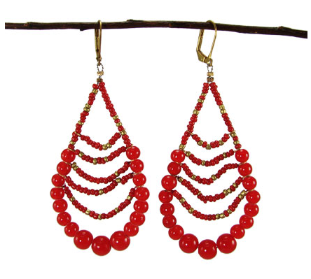 Red Beaded Teardrop Earrings