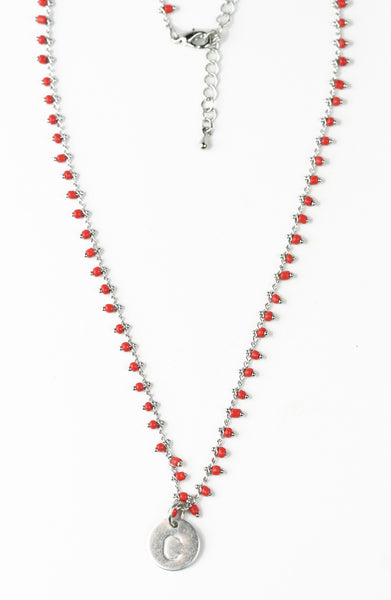 Beaded Charm Initial Necklace - Girl Intuitive