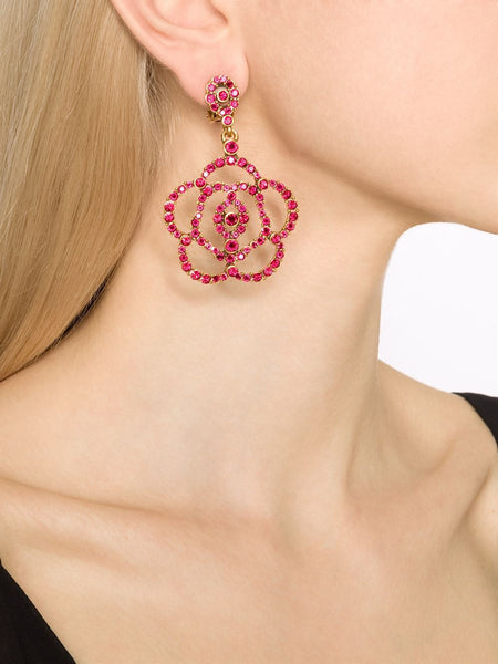 Red Crystal Flower Clip-On Earrings model