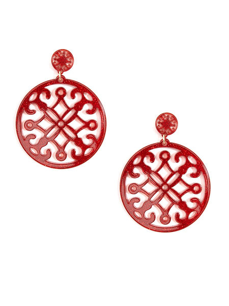 Red Statement Circle Drop Earring