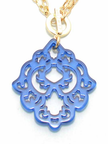 Resin Deco Pendant Necklace cobalt blue