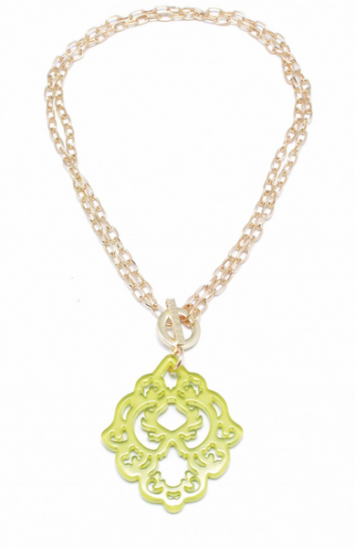 Resin Deco Pendant Necklace lime