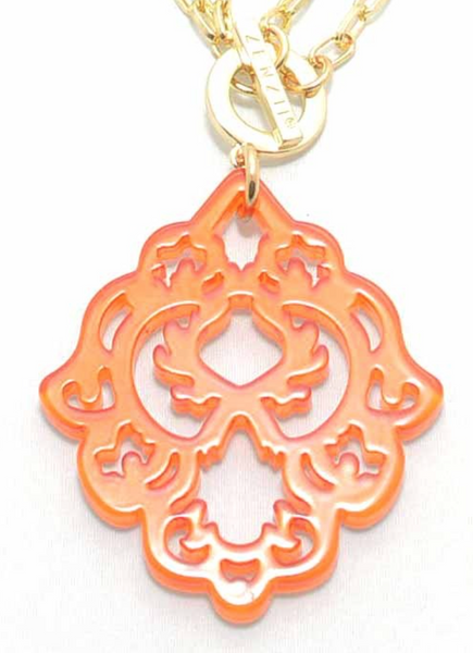 Resin Deco Pendant Necklace orange