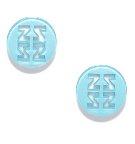 Resin Stud Earrings Aqua