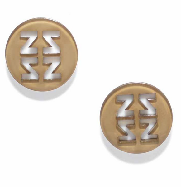Resin Stud Earrings tan