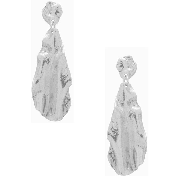 Karine Sultan Rippled Silver Drop Earrings