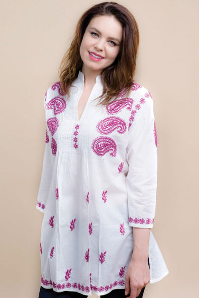 Karishma Embroidered Tunic Top pink