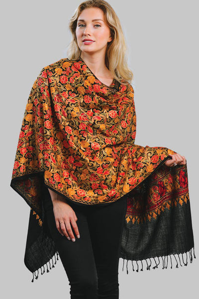 Sevya Sabari Embroidered Wool Shawl