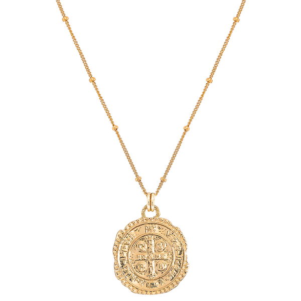 Necklace - Saint Benedict Coin Pendant Necklace Gold-Filled - Girl Intuitive - Mod + Jo -