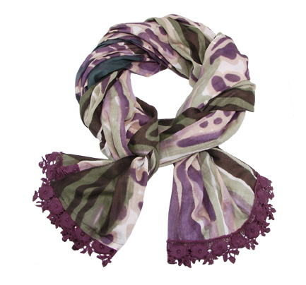 Scarf with Crochet Trim - Plum