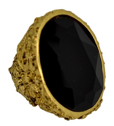 Floral Carved Oval Ring in Black