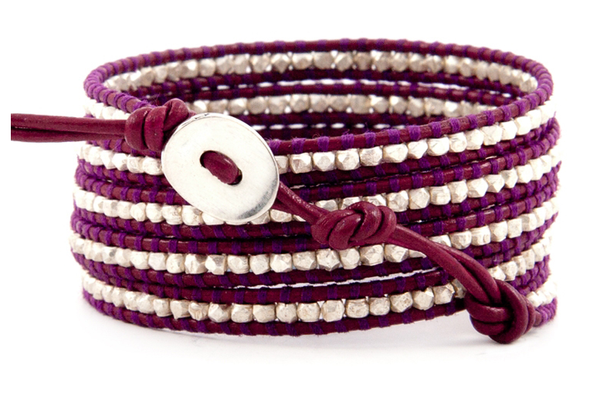 Purple - Silver Wrap Bracelet
