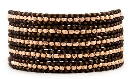 Brown - Rose Gold Leather Wrap Bracelet - Girl Intuitive