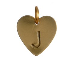 heart charm initial letter gold
