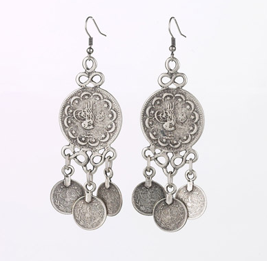 Coin Drop Earrings Silver Tone