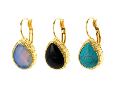 Teardrop Shaped Earrings Onyx