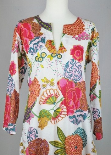 Tunic - Cotton Tunic Floral Print - Girl Intuitive - Dolma -