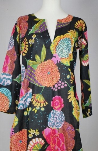 Tunic Floral in Black