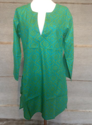 Cotton Tunic Top Blue Green