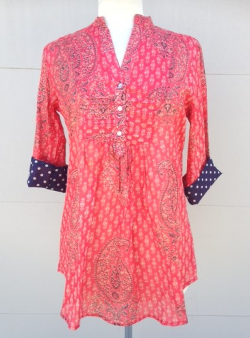 Tunic - Red Tone + Navy