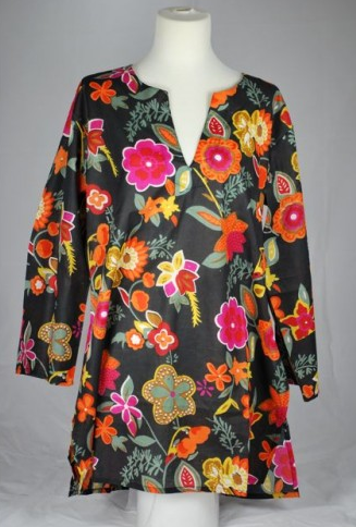 Cotton Tunic Top Botanical on Black