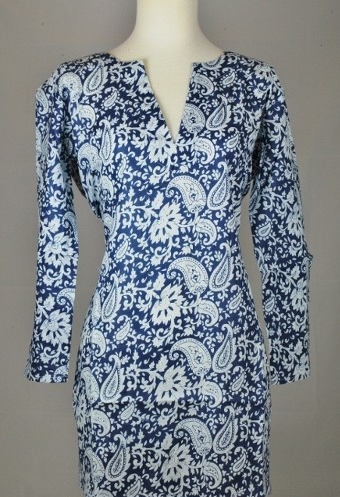 Tunic Blue with White Paisleys