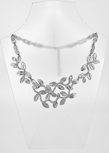 Sculpted Leaves Statement Necklace silver