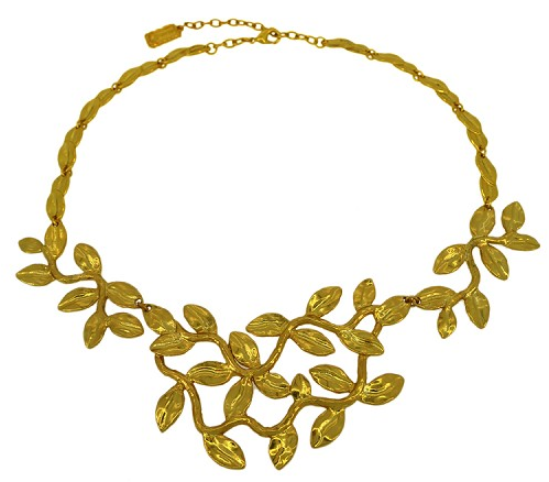 Sculpted Leaves Statement Necklace Gold