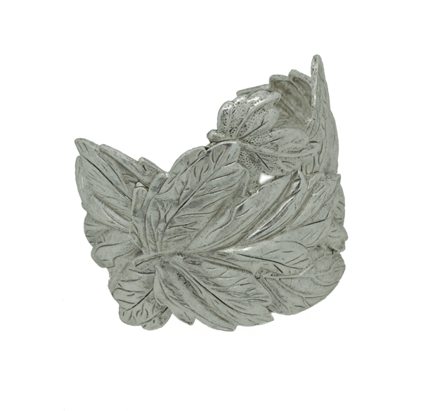 Embossed Leaves Cuff Bracelet