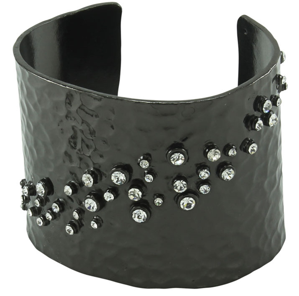 Hammered and Crystal Cuff - Silver