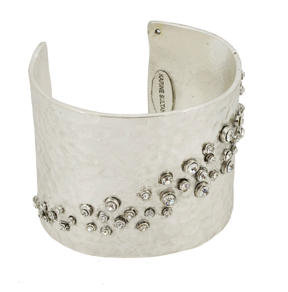 Hammered and Crystal Cuff